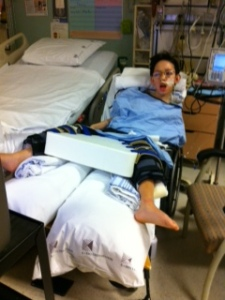 In orthopaedics, they had him in a wheelchair to stretch his legs.