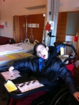 Deane, in his hospital room, ready and eager to leave.